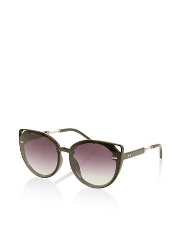 Cat Eye Cut Out Plastic Sunglasses,BLACK,large
