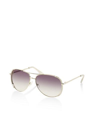 Glitter Side Trim Aviator Sunglasses,SILVER,large