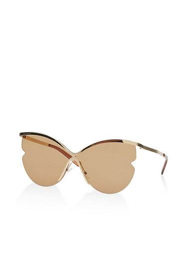 Half Rim Cat Eye Sunglasses,BROWN,large