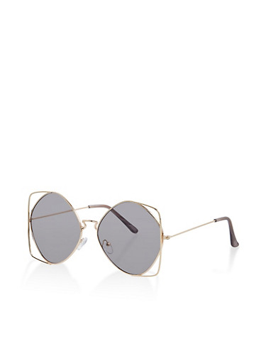 Metallic Cut Out Sunglasses,GRAY,large