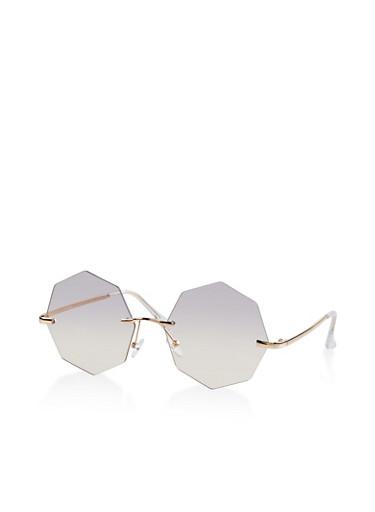 Geometric Rimless Sunglasses,GRAY,large
