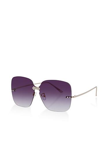 Rimless Square Sunglasses,GRAY,large
