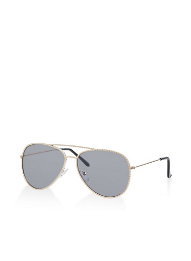 Hammered Metallic Frame Aviator Sunglasses,GRAY,large