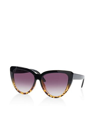 Two Tone Cat Eye Sunglasses,BLACK,large