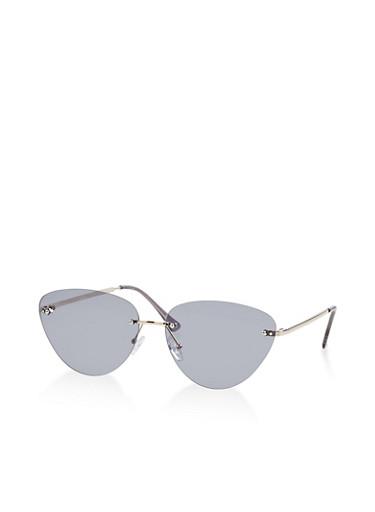 Rimless Cat Eye Sunglasses,GRAY,large