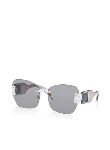 Rimless Colored Sunglasses,GRAY,large