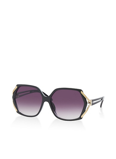 Metallic Detail Sunglasses,BLACK,large