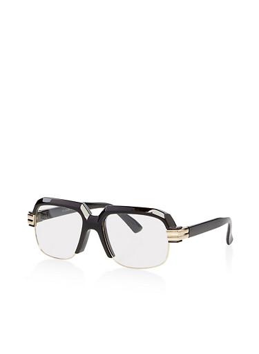 Plastic Frame Clear Glasses,BLACK,large