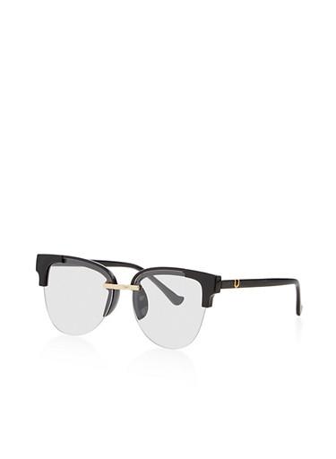 Plastic Half Frame Clear Glasses,BLACK,large