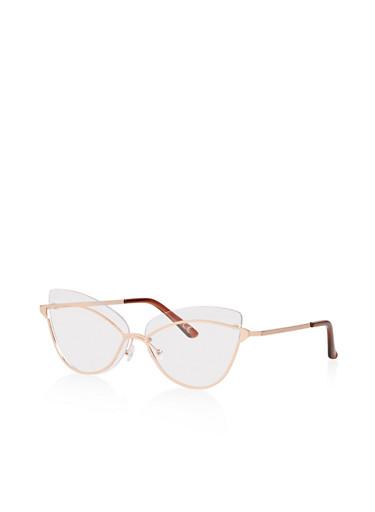 Metallic Frame Clear Cat Eye Glasses,ROSE,large