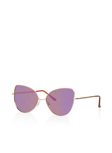 Mirrored Metallic Cat Eye Sunglasses by Rainbow