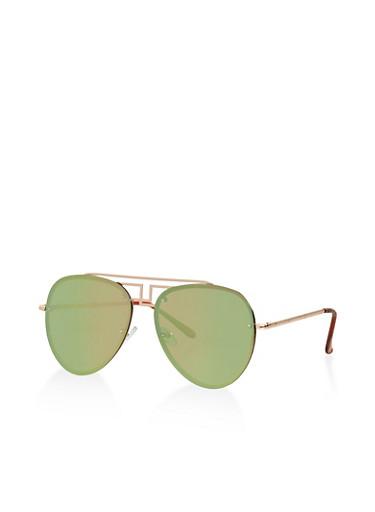 Mirrored Aviator Sunglasses,SILVER,large