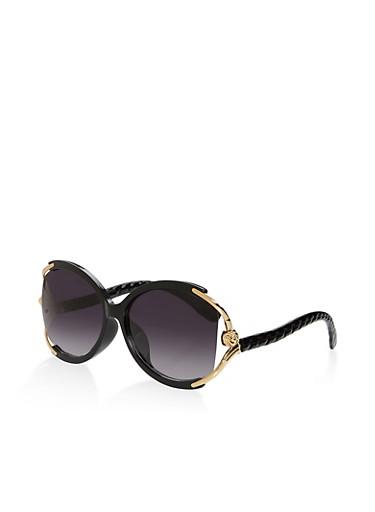 Metallic Detail Oversized Sunglasses,BLACK,large