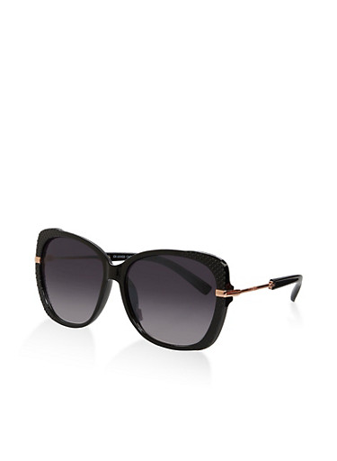 Metallic Temple Textured Sunglasses,BLACK,large