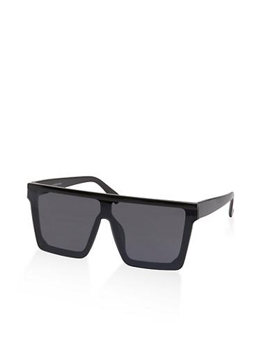 Flat Top Shield Sunglasses,BLACK,large