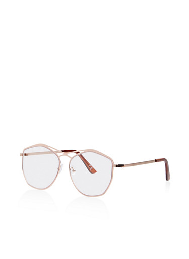 Cut Out Frame Clear Glasses,ROSE,large