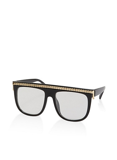 Chain Detail Oversized Glasses,BLACK,large