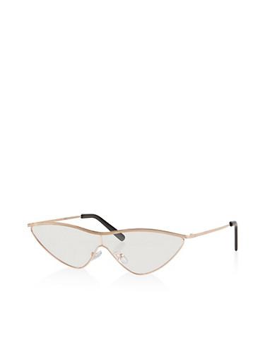 Metallic Cat Eye Shield Glasses,ROSE,large