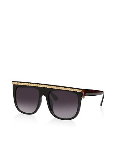 Metallic Browline Shield Sunglasses,BLACK,large