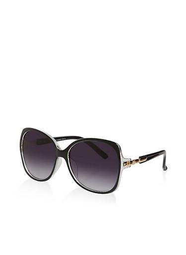 Metallic Arm Plastic Sunglasses,BLACK,large