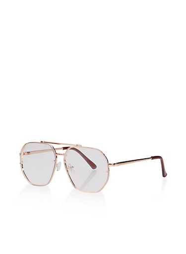 Geometric Top Bar Aviator Glasses,ROSE,large