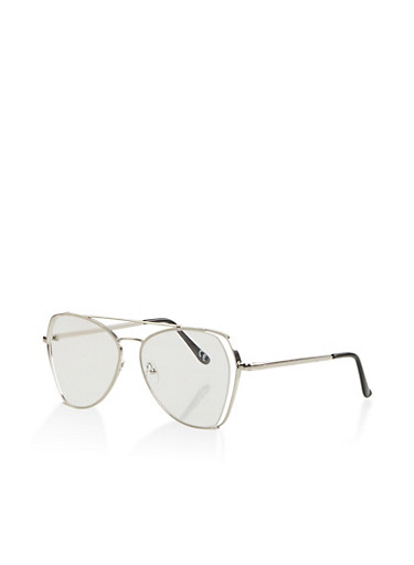 Open Side Aviator Glasses,SILVER,large