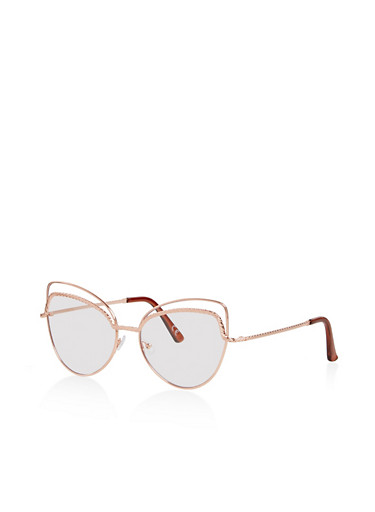 Double Frame Clear Cat Eye Glasses,ROSE,large