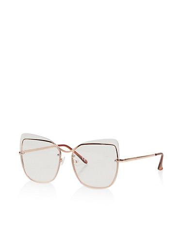 Metallic Frame Clear Glasses,ROSE,large