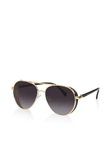 Glitter Edge Aviator Sunglasses,GRAY,large
