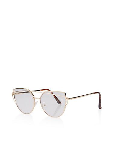 Metallic Top Bar Cat Eye Glasses,GOLD,large