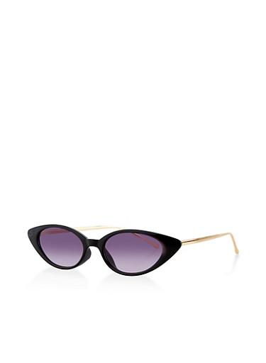 Slim Metallic Arm Sunglasses,BLACK,large