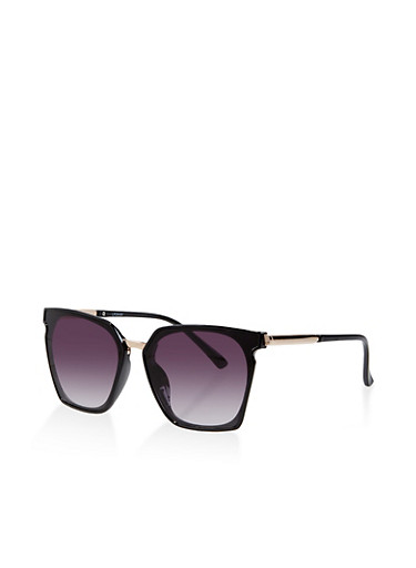 Geometric Metallic Detail Sunglasses,BLACK,large
