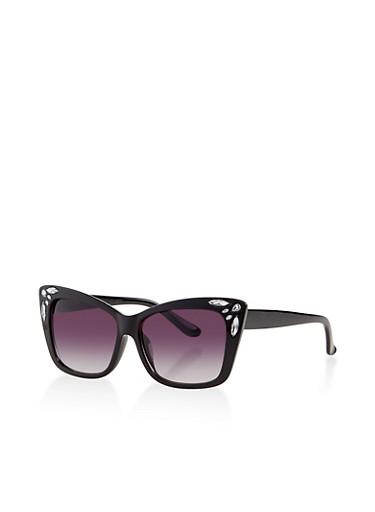 Jeweled Cat Eye Sunglasses,BLACK,large