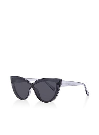 Plastic Shield Cat Eye Sunglasses,GRAY,large