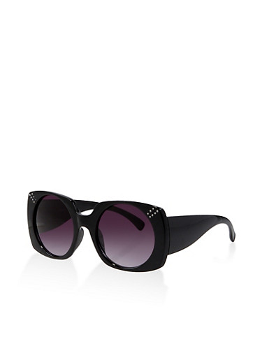 Rhinestone Detail Sunglasses,BLACK,large