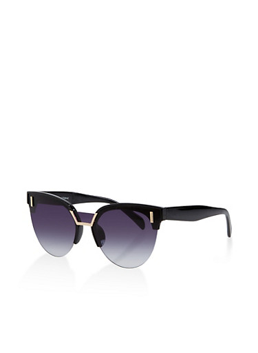 Half Rim Cat Eye Sunglasses,BLACK,large