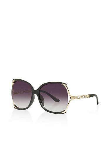 Open Side Plastic Sunglasses,BLACK,large