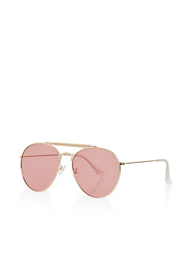 Top Bar Aviator Glasses,PINK,large