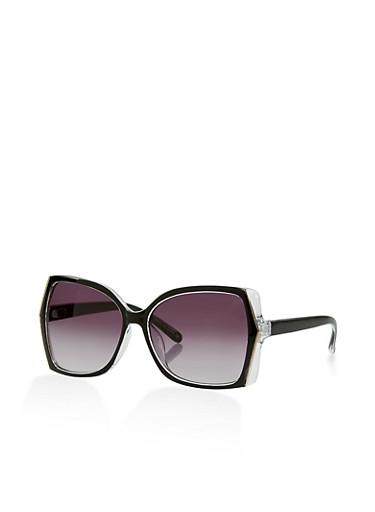 Two Tone Sunglasses,BLACK,large