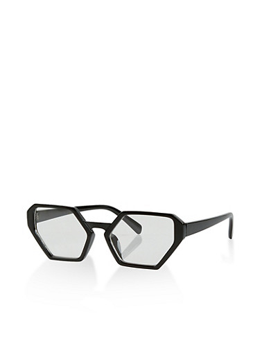 Plastic Geometric Glasses,BLACK,large