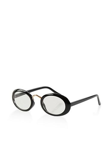 Plastic Oval Glasses,BLACK,large