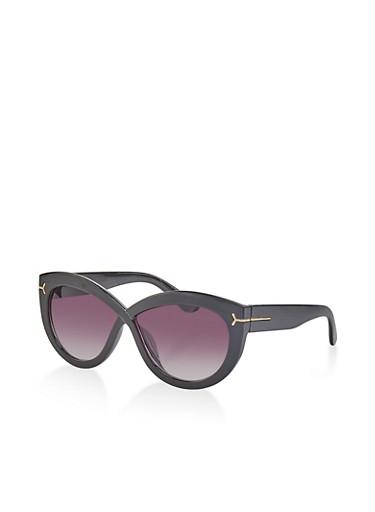 Plastic Criss Cross Sunglasses,BLACK,large