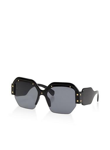 Studded Half Frame Square Sunglasses,BLACK,large