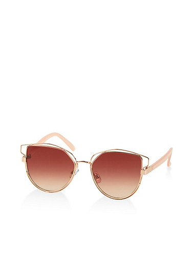 Metallic Double Frame Cat Eye Sunglasses | 1134004260025,BROWN,large