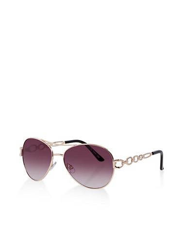 Metallic Link Arm Aviator Sunglasses,GRAY,large