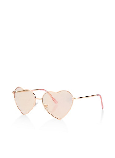 Metallic Heart Aviator Sunglasses,PINK,large
