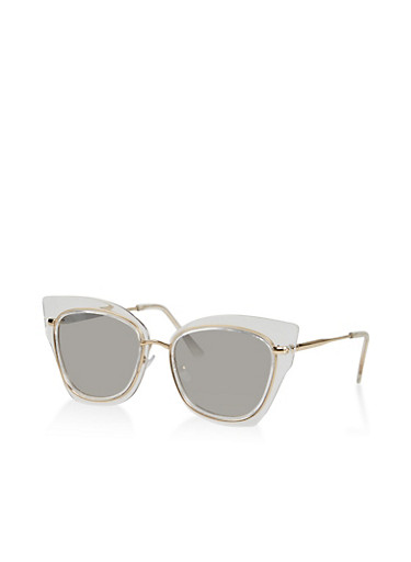 Mirrored Clear Cat Eye Sunglasses,CLEAR,large
