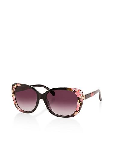 Metallic Arm Cut Out Sunglasses,BLACK,large