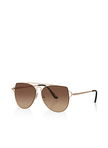 Top Bar Cut Out Aviator Sunglasses,BROWN,large