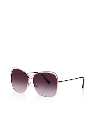 Metallic Cut Out Colored Sunglasses,GRAY,large